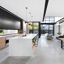 polished concrete floor kitchen. Grey Polished Concrete Floor With Black And White Aggregate, Framed Windows, Kitchen O
