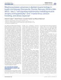 Pdf Meeting Synopsis Advances In Skeletal Muscle Biology