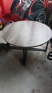 circular round circle coffee table black metal base