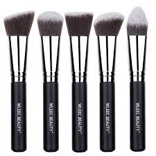wleec beauty 5 pieces professional cosmetic makeup brushes set with travel brush holder