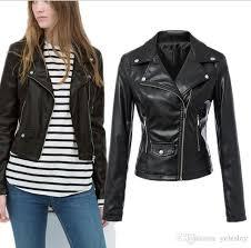 the subsection single pimkie washed pu leather motorcycle jacket slim female short paragraph leather large size whole white jacket denim jackets from