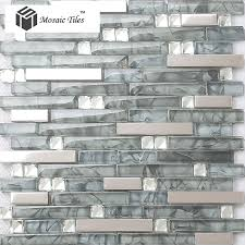 tst glass metal tile glass tile grey strip stainless steel backsplash wall tiles fire place deco
