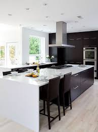 modern black kitchens. Beautiful Modern Modern Black And White Kitchen With Light Colored Wooden Floors A Steel  Hood With Modern Black Kitchens K