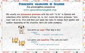 Spanish Possessive Pronouns Chart Sentences