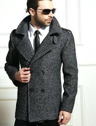 grey pea coat men slim pea coat fashion wo coat grey pea coat men