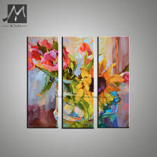 3 piece abstract modern canvas wall art decorative acrylic painting sunflower picture oil painting on canvas for living room in painting calligraphy from