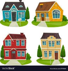 Houses Cottage Set Cartoon Exterior Design