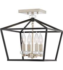 hinkley 3533bk stinson 4 light 13 inch black semi flush chandelier ceiling light