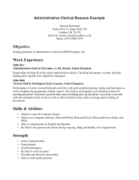 Sample Resume For Clerical Administrative Clerical Resumes Examples Examples of Resumes clerical resume 1