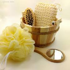 Wooden Bathroom Accessories Set Wooden Bath Set Wooden Comb Mirror Bath Sponge Bathroom