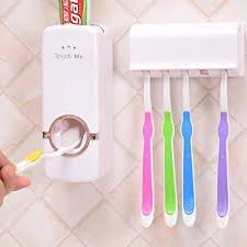 <b>Plastic</b> Toothpaste Dispenser <b>Automatic</b> With 5 <b>Toothbrush Holder</b> ...