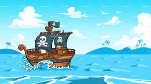 Pirate Ship Sailing The Ocean Background