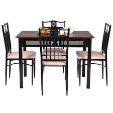 white metal furniture. 5 Piece Dining Set Wood Metal Table And 4 Chairs Kitchen White Furniture
