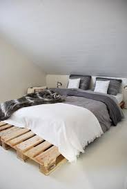 Bedroom: Attic Bed Frames With Pallet Board - 15 Simple DIY Bed Frames With  Pallet