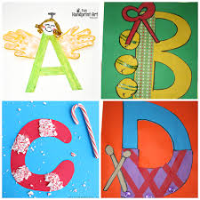 a b c d winter christmas letter crafts for kids
