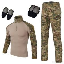 Shirts With Pants Men S Tactical Airsoft Pants Shirt Slim Fit Camo Combat Bdu Long Sleeve Trousers With Knee Pads
