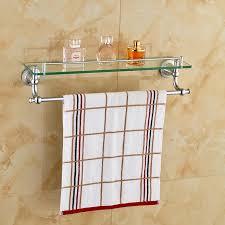 bathroom elegant chrome polished glass shelf wall mount cosmetic holder shelves with towel bar decor baskets
