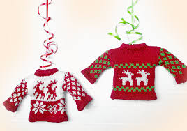 Knit Tacky Ugly Christmas Sweater Holiday Ornament with Hanger