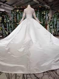 New Ball Gown Design 2019 New Design Satin Arabic Bridal Gown Islamic Long Sleeve Muslim Wedding Dress Arab Ball Gown Lace Hijab Wedding Dress