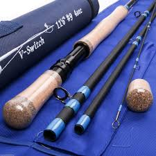 two handed switchable fighting fly rod with rod case