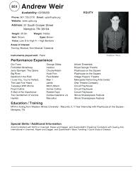 How To Write A Theatre Resume Acting Resume Beginner Sample Writing