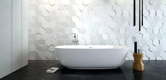 hex hexagonal hexagon tiles white three dimensional contemporary bathroom wall design detail or