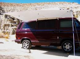 camper with open awning
