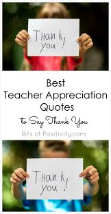 Appreciation Quotes For Teachers Impressive Best Teacher Appreciation Quotes To Say Thank You Bits Of Positivity