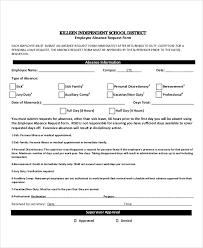 Absence Form Leave Of Absence Request Form Sample Rome Fontanacountryinn Com