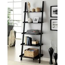 wonderful ladder bookshelf design ideas featuring black stained wooden ladder bookshelf with 5 tier and square