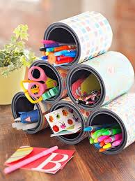 diy office supplies. 24. colorful tin can organizers diy office supplies