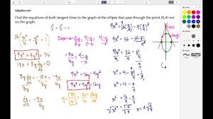 calculus find the equation of 2 lines tangent to the ellipse that intersect at 0 4