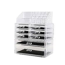amazon dreamgenius makeup organizer 3 pieces acrylic cosmetic storage drawers and jewelry display box home kitchen