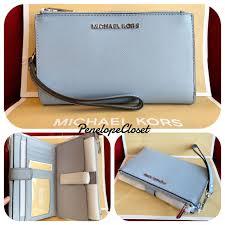 nwt michael kors saffiano leather jet set travel double zip wallet in pale blue