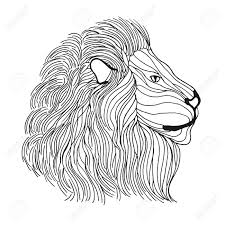 Lion Head Adult Antistress Coloring Page Black White Hand Drawn