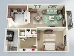 General: Modern 1 Bedroom Floor Plan - 1 Bedroom Apartment Plan