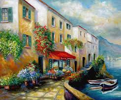landscape painting street in italy by the sea by regina femrite