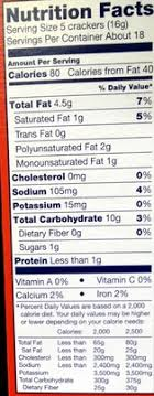 Ritz Crackers Nutrition Chart Ritz Crackers 10 3 Oz 291 G