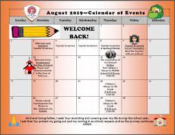 Monthly Academic Calendar Monthly Calendar Of Events St Lukes Catholic School