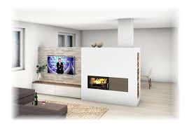Kachelofen Modern Mit Sichtfenster Und Tv Wand Einrichten
