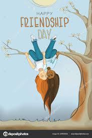 s friendship friends hang tree branch upside friendship day nice stock vector