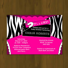 Zebra U0026 Hot Pink Ultrasound Photo Baby Shower InvitationsPink Zebra Baby Shower Invitations
