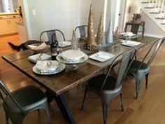 steel x base table pine metal dining