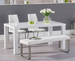 Atlanta 160cm White High Gloss Dining Table With Cavello Chairs And