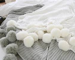 white throw blanket. Fine Blanket Pom White Throw Blanket Off Sofa Throw Bed  Blankets U0026 Throws Free Delivery Throughout Blanket H