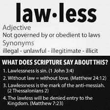 Image result for pictures of verses on lawlessness