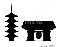 東京ランドマークシルエットイラスト 浅草寺のイラスト素材 36799552