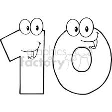 ten clipart black and white.  Black 5025ClipartIllustrationofNumberTenCartoonMascot In Ten Clipart Black And White C
