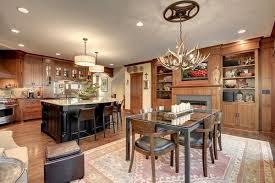 kitchen design decoration ideas deer antler lighting fixture dining table