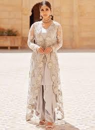 Punjabi Suit With Long Jacket Design Light Grey Jacket Style Punjabi Suit